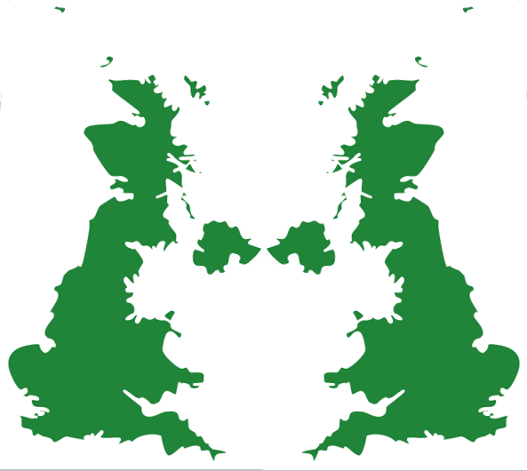 Two images of the UK, left reversed, as if co-counselling
